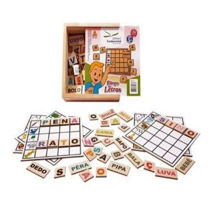 Bingo de Letras com 156 peças em Mdf