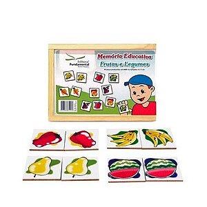 Memória Educativa Frutas e Legumes com 40 peças