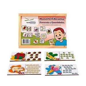 Memória Educativa Numerais e Quantidades com 40 peças em Mdf