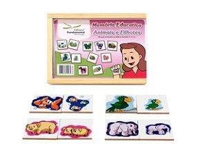Memória Educativa Animais e Filhotes com 40 peças em Mdf