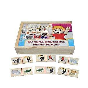 Dominó Educativo Animais Selvagens com 28 peças