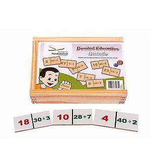 Dominó Educativo Divisão com 28 peças em MDF