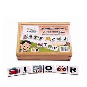 Dominó Educativo Alfabetização com 28 peças em mdf