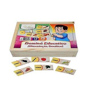 Dominó Educativo Alimentação Saudável com 28 peças em mdf