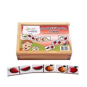 Dominó Educativo Frutas com 28 peças em mdf