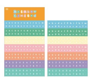 Cartela de Adesivos Letras e Números Rainbow