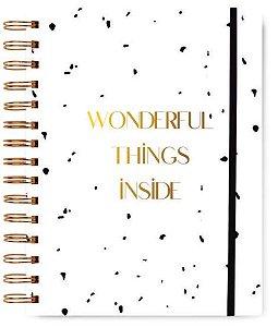 Caderno Colegial Wonderful Preto e Branco