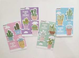 Cartela Sticky Notes Cactos e Bichinhos