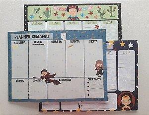 Bloco Planner Semanal Personagens