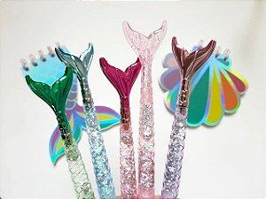 Caneta Cauda de Sereia Glitter