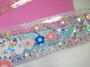 Régua e Marca Página Glitter Holográfico
