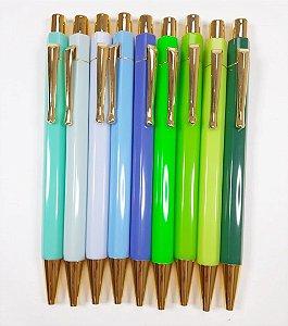 Caneta Luxo Azul e Verde
