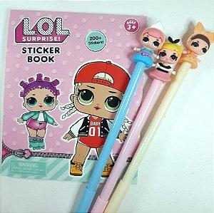 Kit Sticker Book + Canetas Bonequinha LOL