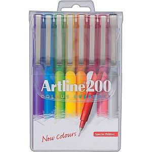 "Kit Luxo 8 Canetas Hidrográficas Coloridas ""Artline 200"""