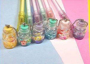 Caneta Potinho Glitter e Florzinhas