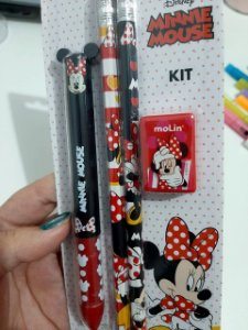 Kit Canetas e Lápis Minnie Mickey