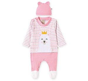 Macacão longo + Touca para bebê em suedine Ursa Coração - Pingo Lelê 66669