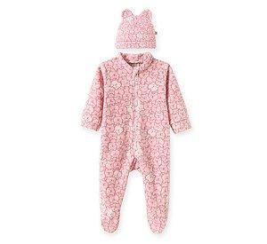 Macacão longo c/ Touca para bebê em Soft Ursinhos Rosa - Pingo Lelê 66735