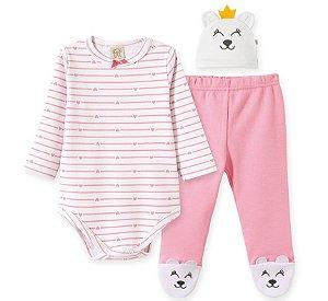 Body longo c/ Calça e Touca para bebê em suedine Ursa Coração - Pingo Lelê 66672