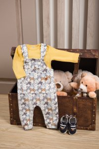 Jardineira + Body longo para bebê em suedine Coelho - Pingo Lelê 66693