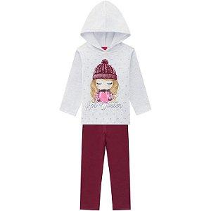 Conjunto Blusa c/ Capuz + Calça Moletom Infantil Menina Kyly 207383