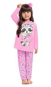 Pijama Inverno Infantil Guaxinim Anti Mosquito Kyly 207526 Rosa