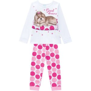 Pijama Inverno Infantil Dog Brilha no Escuro Kyly 207528 Branco