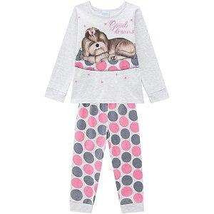 Pijama Inverno Infantil Dog Brilha no Escuro Kyly 207528 Mescla