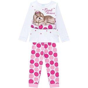 Pijama Inverno Infantil Dog Brilha no Escuro Kyly 2075288 Branco