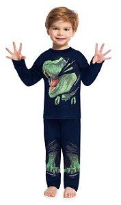 Pijama Longo Infantil Dinossauro 3D Brilha no Escuro Kyly 207548
