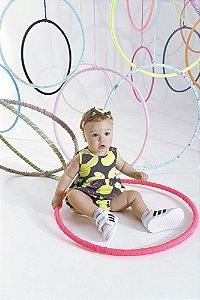 Macacão Curto p/ Bebê c/ Faixa de Cabelo Limão Serelepe 6627