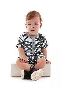 Macaquinho Malha Infantil Preto e Branco Up Baby 43476