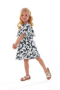 Vestido Bata Infantil Floral Preto e Off White Up Baby 43394