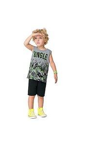 Conj Regata e Short Moletinho Infantil Jungle Kyly 111212