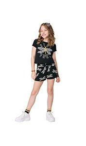 Conj Cropped e Shorts Infantil Libélula Kyly 111170