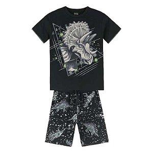 Conj Infantil Camiseta e Short Moletinho Dinossauro Lemon 81166