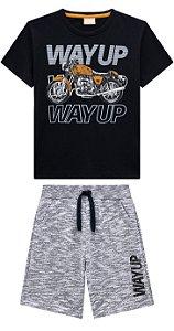 Conj Infantil Camiseta e Shorts Moletinho Moto Milon 13451