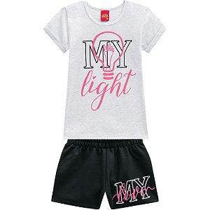 Conjunto Infantil Kyly Short em Moletinho e Camiseta 110254