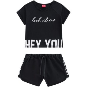Conjunto Teen Feminino Cropped + Shorts Amora 51393