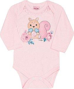 Body Bebê Manga Longa Rosa Serelepe 4824