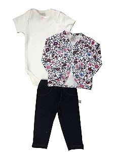Conj Floral: Body curto + Calça Jeans + Casaco Pingo Lelê 65935