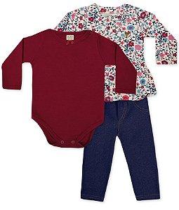 Conjunto Infantil Body Manga Longa + Calça Jeans e Casaco Floral 65939