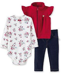 Conjunto Body Floral, Legging Jeans e Colete Soft Vermelho  66180
