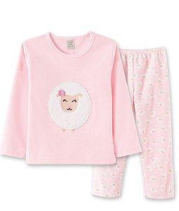 Pijama Calça e Blusa Ovelha em Fleece Thermo 76028