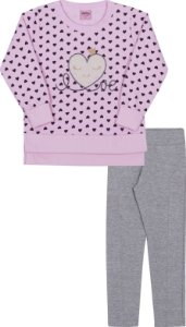 Conjunto Infantil Legging + Blusa Moletom Rosa Serelepe 5926