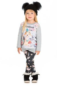 Conjunto Infantil Blusa Moletom Cinza + Legging Raposa Serelepe 5326