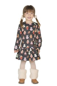 Vestido Infantil Manga Longa Ursos - Pega Mania - 53042