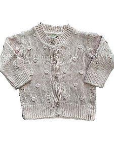 Casaco Infantil em Tricot Rosa Pingo Lelê 66210