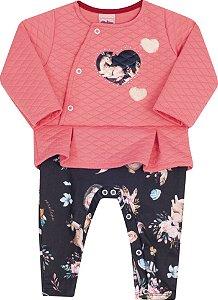 Macacão Bebê Com Pé e Manga Longa Rosa Serelepe  5303