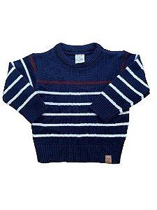 Cardigan Tricô Infantil Listrado Azul Marinho Pingo Lelê 66207